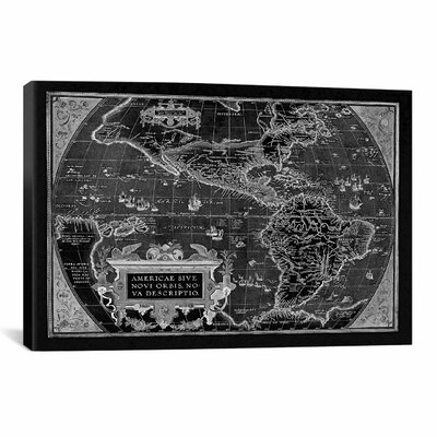 iCanvasArt Antique Map of the Americas (1598) by Abraham Ortelius Graphic Art on Canvas in Black