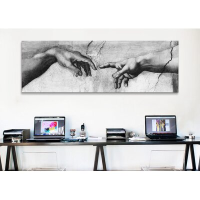 iCanvasArt 'The Creation of Adam V Panoramic' by Michelangelo Painting Print on Canvas