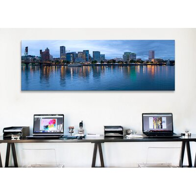 iCanvasArt Panoramic 'Willamette River, Portland, Multnomah County, Oregon' Photographic Print on Canvas
