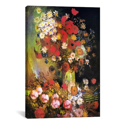 iCanvasArt 'Vase with Cornflowers and Poppies, Peonies and Chrysanthemums' by Vincent Van Gogh Painting Print on Canvas