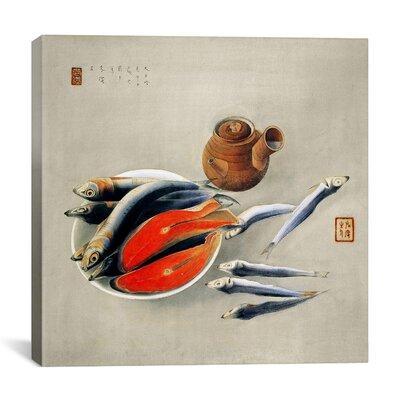 "iCanvasArt ""Still Life: Salmon Slices and Sardines"" Canvas Wall Art by Tsuchida Bakusen"