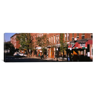 iCanvasArt Panoramic Stores along a Street, North End, Boston, Massachusetts Photographic Print on Canvas