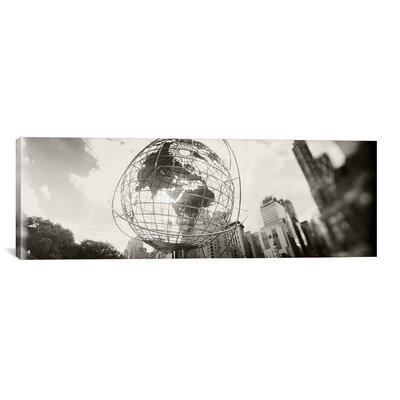 iCanvasArt Panoramic 'Steel Globe, Columbus Circle, Manhattan, New York City' Photographic Print on Canvas