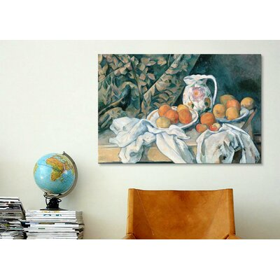 iCanvasArt 'Still Life with a Curtain 1895' by Paul Cezanne Painting Print on Canvas