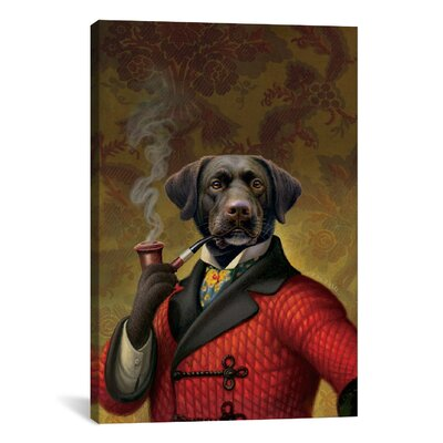 "iCanvasArt ""The Red Beret (Dog)"" Canvas Wall Art by Dan Craig"