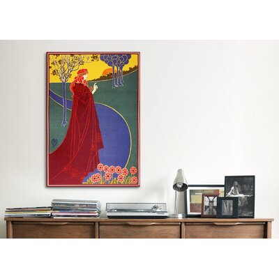 iCanvasArt Woman in Red Cloak on a Road Painting Print on Canvas