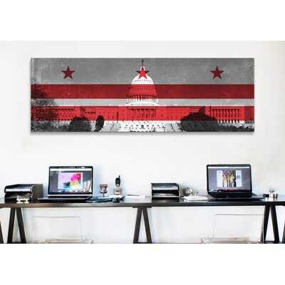 iCanvasArt Flags Washington, D.C Capitol Building Panoramic Graphic Art on Canvas