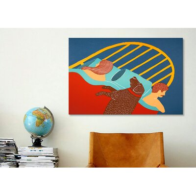 iCanvasArt Hogging the Bed Chocolate Canvas Print Wall Art