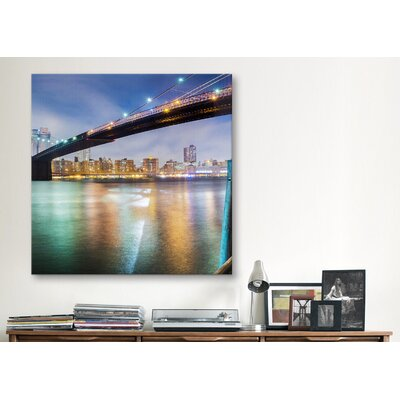 iCanvasArt 'Brooklyn Bridge Pano #2, Part 2 of 3' by Moises Levy Photographic Print on Canvas