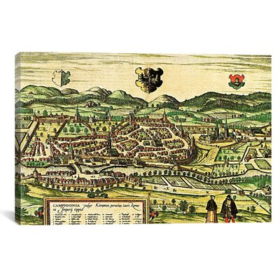 iCanvasArt Antique Map of Kempten (1572) by Georg Braun and Franz Hogenberg Graphic Art on Canvas in Color