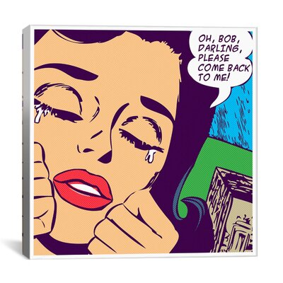 iCanvasArt Come Back to Me Comic Book by Roy Lichtenstein Graphic Art on Canvas in Purple