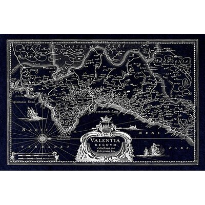 iCanvasArt Antique Map of the Valentia Kingdom (1634) by G and J Blaeu Graphic Art on Canvas in Negative