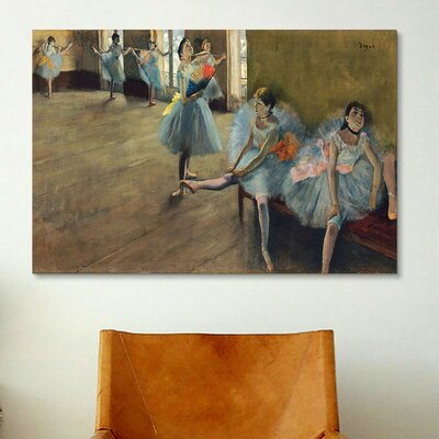 iCanvasArt 'Dancers' Rail by Edgar Degas Painting Print on Canvas