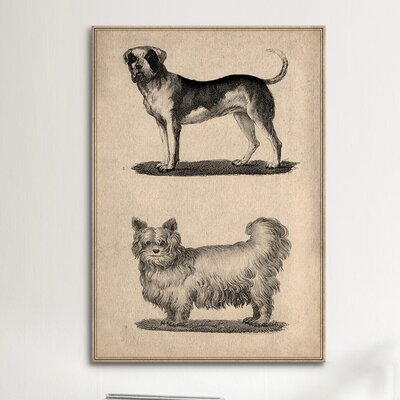 iCanvasArt Animal Art Vintage French Dogs Painting Print on Canvas