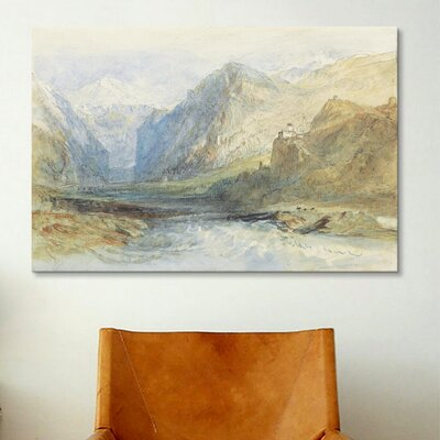 iCanvasArt 'The Domleschg Valley, Looking North to the Gorge at Rothenbrunnen' by Joseph William Turner Painting Print on Canvas