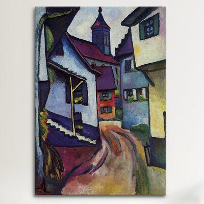iCanvasArt 'Street with Church with Kandern' by August Macke Painting Print on Canvas
