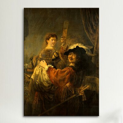 iCanvasArt 'Self-Portrait with Saskia in the Parable of the Prodigal Son' by Rembrandt Painting Print on Canvas