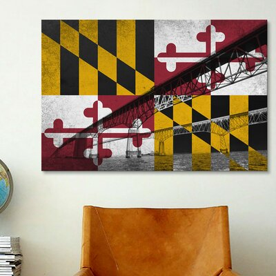iCanvasArt Maryland Flag, Chesapeake Bay Bridge, Ocean Grunge Graphic Art on Canvas