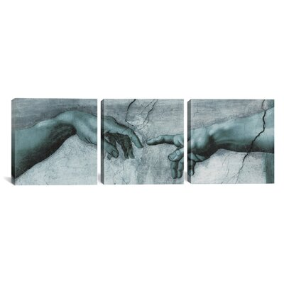 iCanvasArt Michelangelo di Lodovico Buonarroti Simoni The Creation of Adam IV 3 Piece on Canvas Set