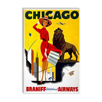iCanvasArt Chicago Braniff Airways Advertising Vintage Poster