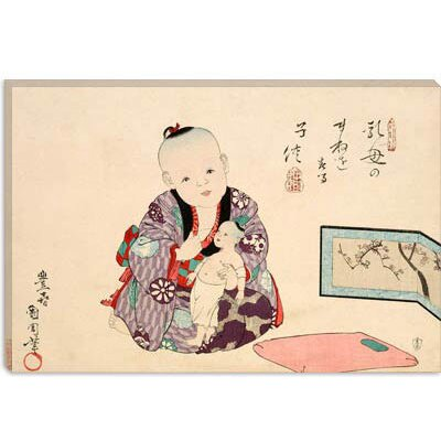 iCanvasArt Child Playing with Doll Japanese Woodblock Canvas Wall Art