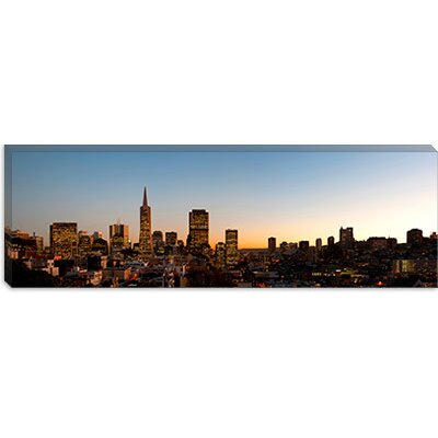 iCanvasArt Buildings Lit Up At Dusk, Telegraph Hill, San Francisco, California, Canvas Wall Art