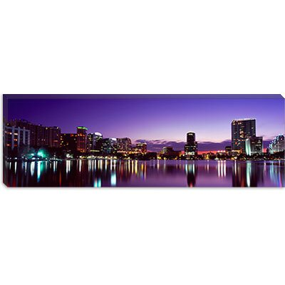 iCanvasArt Buildings Lit Up At Night in a City, Lake Eola, Orlando, Orange County, Florida, ...