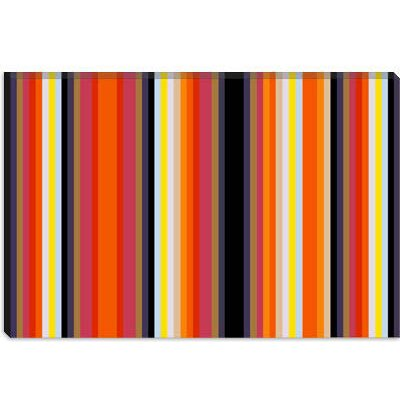 iCanvasArt Burning Rassberyy Black Orange Striped Art Canvas Wall Art