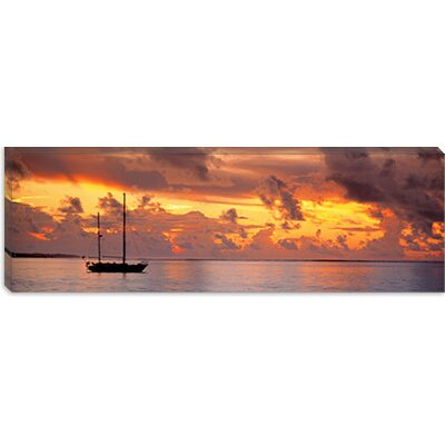 iCanvasArt Boat at Sunset Canvas Wall Art