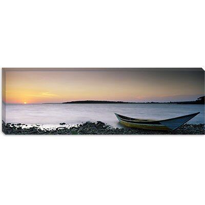 iCanvasArt Boat at the Lakeside, Lake Victoria, Great Rift Valley, Kenya Canvas Wall Art