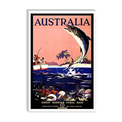 iCanvasArt Australia (Great Barrier Coral Reef) Advertising Vintage Poster