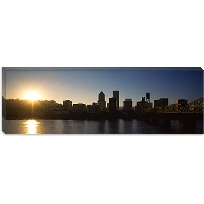 iCanvasArt Buildings along The Waterfront at Sunset, Willamette River, Portland, Oregon Canvas ...