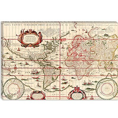 iCanvasArt Antique World Map (Blaeu, Willem Janszoon 1606) Canvas Wall Art