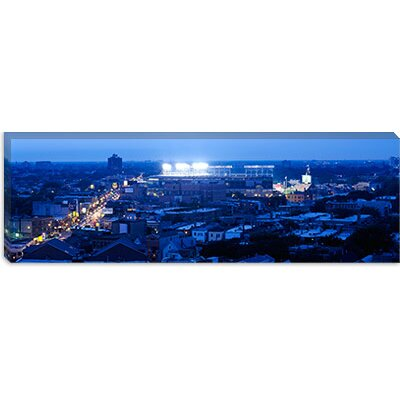 iCanvasArt Aerial View of a City, Wrigley Field, Chicago, Illinois Canvas Wall Art