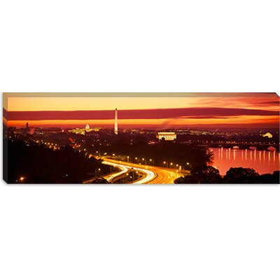 iCanvasArt Sunset, Aerial, Washington, D.C, District of Columbia Canvas Wall Art