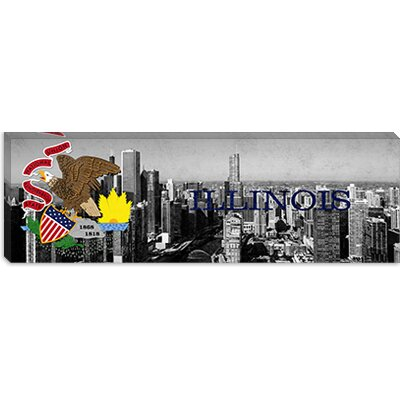 iCanvasArt Illinois Flag, Chicago Skyline Panoramic Canvas Wall Art