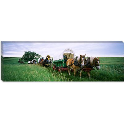 iCanvasArt Historical Reenactment, Covered Wagons in a Field, North Dakota Canvas Wall Art