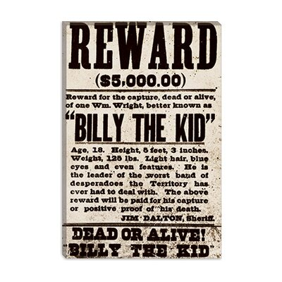 iCanvasArt Dead or Alive - Billy the Kid Canvas Wall Art