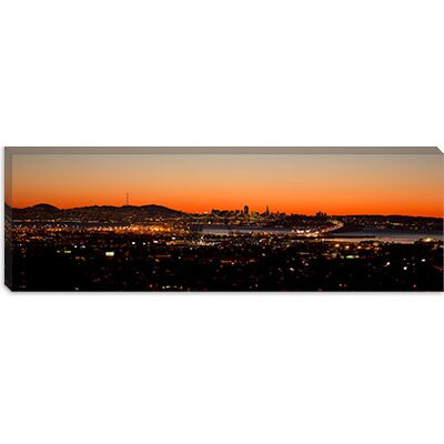 iCanvasArt City View at Dusk, Oakland, San Francisco Bay, San Francisco, California Canvas Wall ...