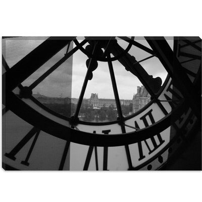 iCanvasArt Clock Tower in Paris Canvas Wall Art