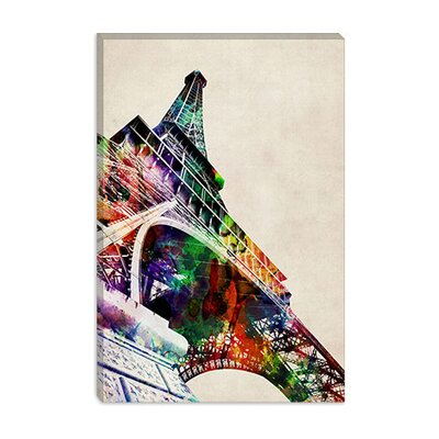iCanvasArt Eiffel Tower Watercolor Canvas Wall Art by Michael Thompsett