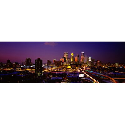 iCanvasArt Panoramic Skyscrapers Lit up at Dusk, Minneapolis, Minnesota Photographic Print on Canvas