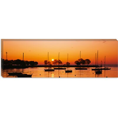 iCanvasArt Silhouette of Sailboats in a Lake, Lake Michigan, Chicago, Illinois Canvas Wall Art