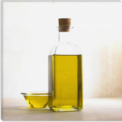 iCanvasArt Olive Oil Bottle Photographic