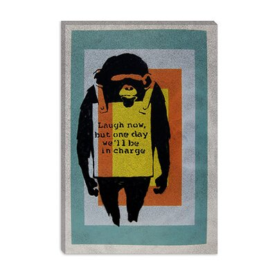 iCanvasArt Laugh Now, Sandwich Board-Wearing Monkey Color Tunnel Canvas Wall Art