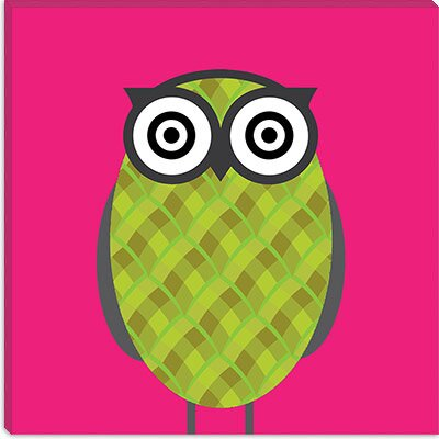 iCanvasArt Owl Pink Canvas Wall Art