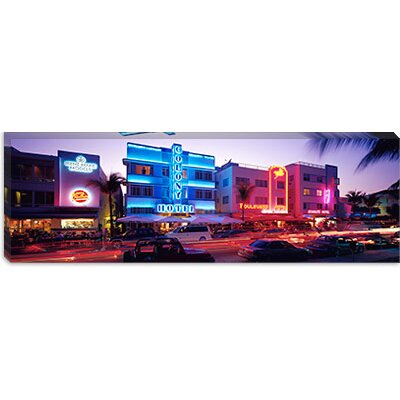 iCanvasArt Ocean Drive South Beach Miami, Florida Canvas Wall Art