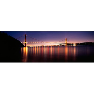 iCanvasArt Suspension Bridge Lit up at Dusk, Golden Gate Bridge, San Francisco Bay, San ...