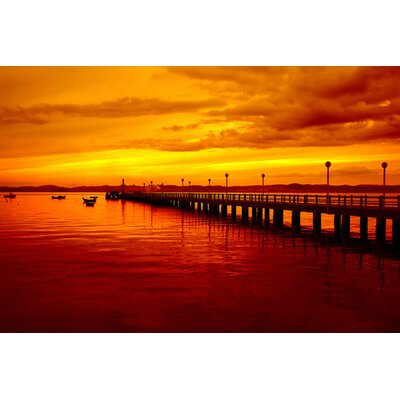 iCanvasArt Sunset at the Pier Canvas Wall Art