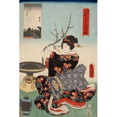 iCanvasArt Woman with Tree Branch Japanese Woodblock Canvas Wall Art